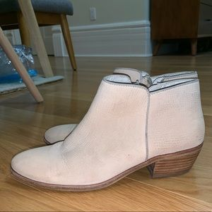 Light tan suede ankle booties